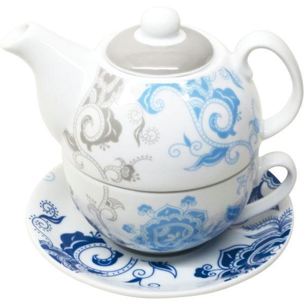 Čajová sada pre jednu osobu, motív modré kvety, Gastro