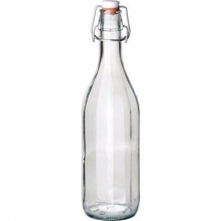 Fľaša na alkohol 0,75 l, 10-stranná, s obloučkovým uzáverom, Gastro