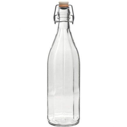 Fľaša na alkohol 1,0 l s obloučkovým uzáverom, 10-hranná