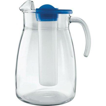 Džbán sklenený Gastro 2800 ml, s modrým vekom a zásobníkom na ľad