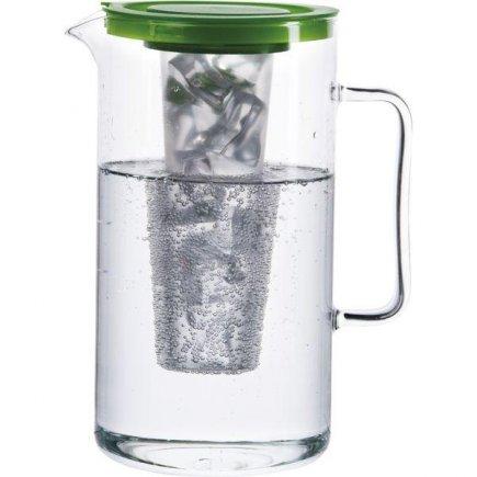 Džbán sklenený Bohemia Cristal Simax 2000 ml, so zeleným vekom a zásobníkom na ľad