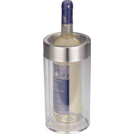 chladiaca nádoba na fľašu, kýblik na víno, dvojstenná, akryl nerez, transparentné, Gastro