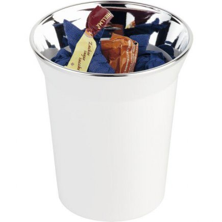 Stojan na príbory, príborník, odpadkový kôš na stôl, chrómovaný okraj, bielý, APS