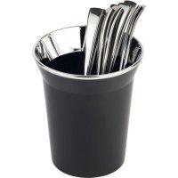 Stojan na príbory, príborník, odpadkový kôš na stôl, chrómovaný okraj, čierny, APS