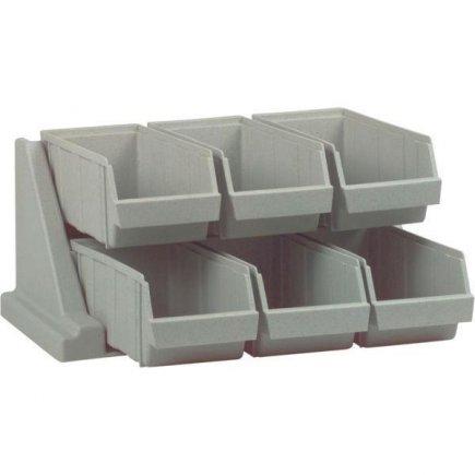 Stojan na príbory, 6 priehradok, plast, šedý, nosnosť 4,5 kg, môže štát alebo možno pripevniť na stenu, profi, Cambro
