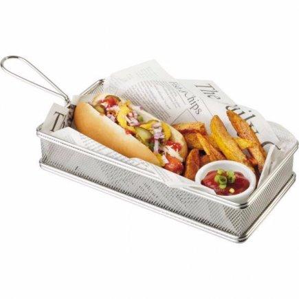 Košík pre servírovanie jedla nerez APS 13x26x3,5 cm, obdĺžnik