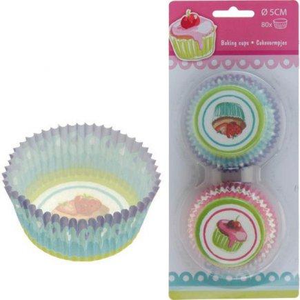 Papierové košíčky na muffiny 80 ks, 2 rôzne farby