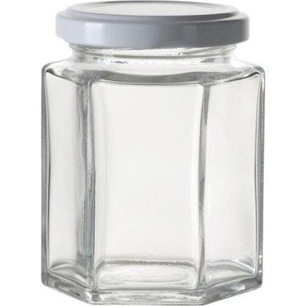 Zaváracie poháre na lekváry, 6 ks, 110 ml, 6-hranné, biele viečko Gastro
