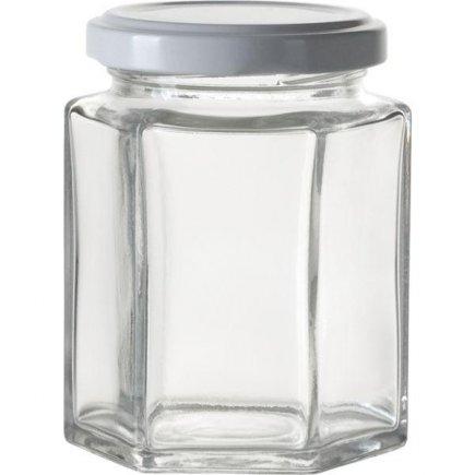 Zaváracie poháre na lekváry, 6 ks, 191 ml, 6-hranné, biele viečko Gastro