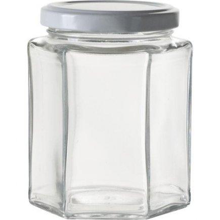 Zaváracie poháre na lekváry, 6 ks, 288 ml, 6-hranné, biele viečko Gastro
