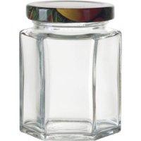 Zaváracie poháre na lekvár, 6 ks, 110 ml, 6-hranné, viečko ovocie Gastro