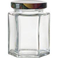 Zaváracie poháre na lekváry, 6 ks, 191 ml, 6-hranné, viečko ovocie Gastro