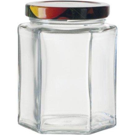 Zaváracie poháre na lekváry, 6 ks, 288 ml, 6-hranné, viečko ovocie Gastro