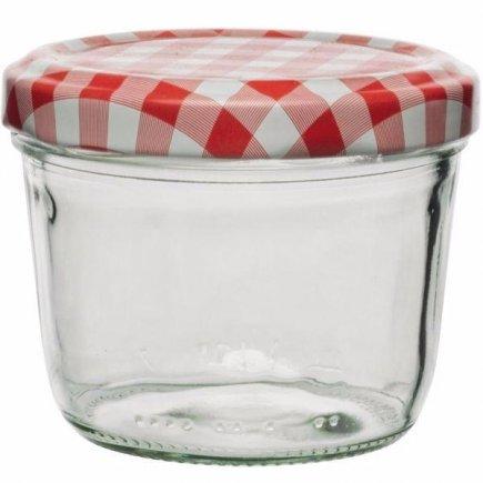 Zaváracie poháre, 230 ml, viečko káry, pre marmelády, nízka Gastro