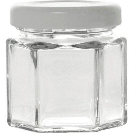 Zaváracie poháre hranaté, 47 ml, šesťhranné, pre marmelády, biele viečko Gastro