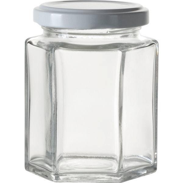 zaváraninové poháre na lekváry, 110 ml, 6-hranné, biele viečko