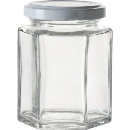 Zaváracie poháre na lekváry, 191 ml, 6-hranné, biele viečko Gastro