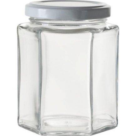 Zaváracie poháre na lekváry, 288 ml, 6-hranné, biele viečko Gastro
