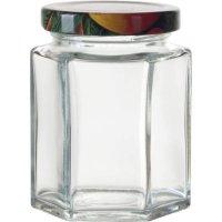 Zaváracie poháre na lekvár, 110 ml, 6-hranné, viečko ovocie Gastro