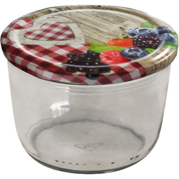 Zaváracie poháre guľaté, 230 ml, skrutkovacie viečko s dekorom vidieka, nízka