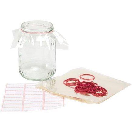 Fólie na zaváracie fľaše sada 25 ks, vrátane gumičiek a samolepiacich etikiet Gastro