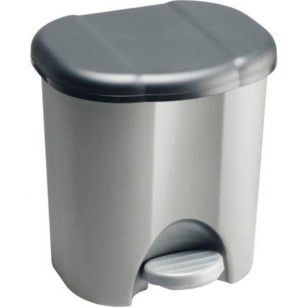 Odpadkový kôš plastový Rotho 6 l, strieborny