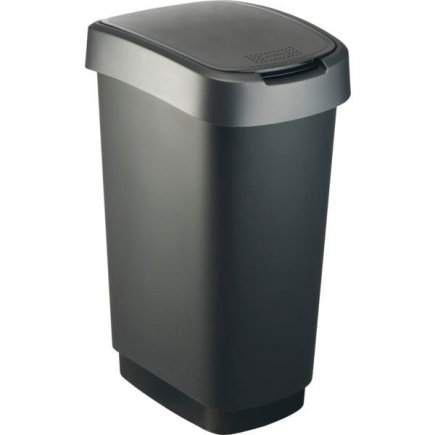 Odpadkový kôš plast Rotho 50 l, čierna / antracit