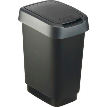 Odpadkový kôš plast Rotho 10 l, čierna / antracit