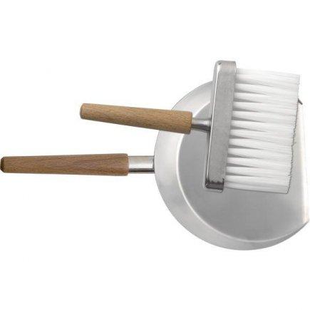 lopatka so zmetákom na stôl, nerez mat drevená držadlo, metlička 14 cm lopatka 25 cm upratovanie - Piazza