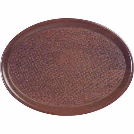 Protišmykový oválny tác APS 26x20x1 cm lisované drevo