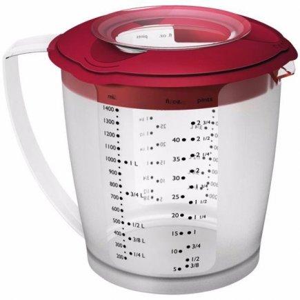 Mixovacia nádoba s viečkom a odmerkou Westmark Helena 1400 ml, červená