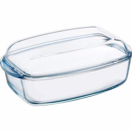 Pekáč varné sklo Pyrex s pokrievkou 11x38x22 cm, hranatý