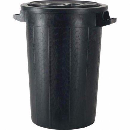 Popolnice plast s vekom 75 l, čierna