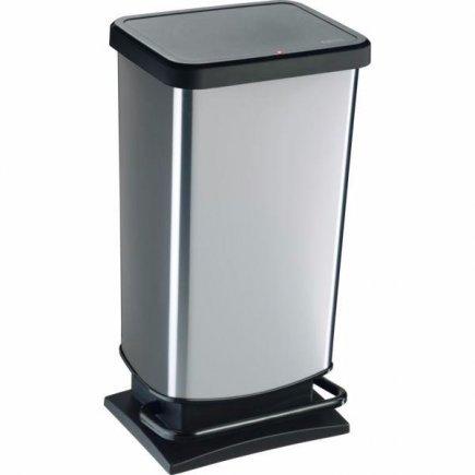 Odpadkový kôš nášľapný Rotho 40 l, čierna / kovovo strieborná