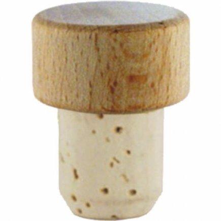 Špunt korkový drevená hlavička, priemer 19 mm, pre fľašu 222208014,15,27