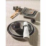 Tanier plytký asymetrický Schönwald Pottery 31 cm, svetlo šedá
