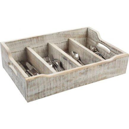 Príborník drevený 48x13,4x13 cm, biely