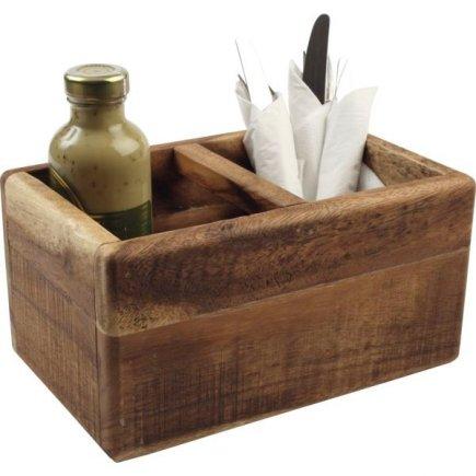 Príborník drevený 27,4x17,4x14 cm, natural, 2 priehradky
