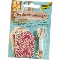 Darčekové štítky / kartičky set 12 ks, hranaté, ornamenty