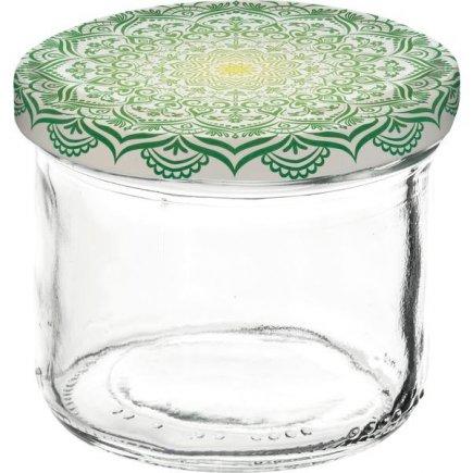 Zaváracie poháre Gastro 120 ml, viečko dekor Mandala zelené