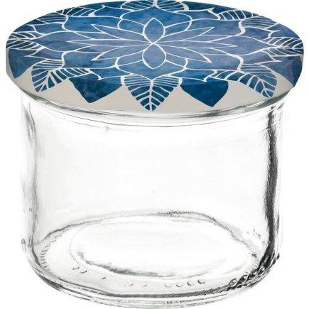 Zaváracie poháre Gastro 120 ml 6 ks, viečko dekor Mandala modré
