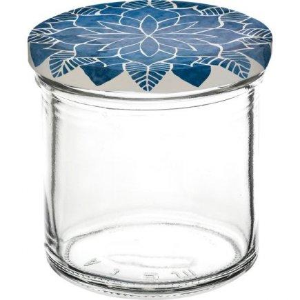 Zaváracie poháre Gastro 167 ml 6 ks, viečko dekor Mandala modré