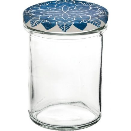Zaváracie poháre Gastro 230 ml 6 ks, vysoké, viečko dekor Mandala modré