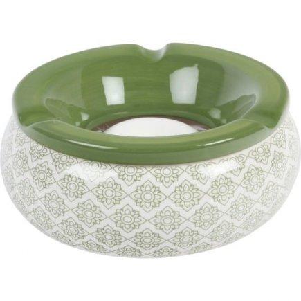 Popolník do vetra keramický Ornamenty 15 cm, zelený, rôzne motívy