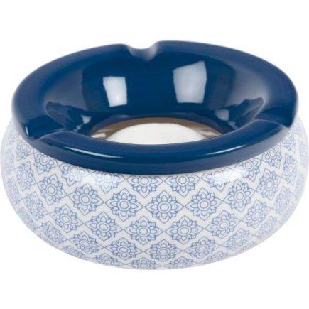 Popolník do vetra keramický Ornamenty 15 cm, modrý, rôzne motívy