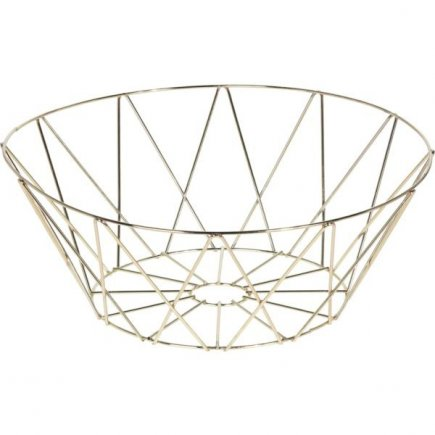 Dekoračný košík kovový 25,5 cm, zlatý