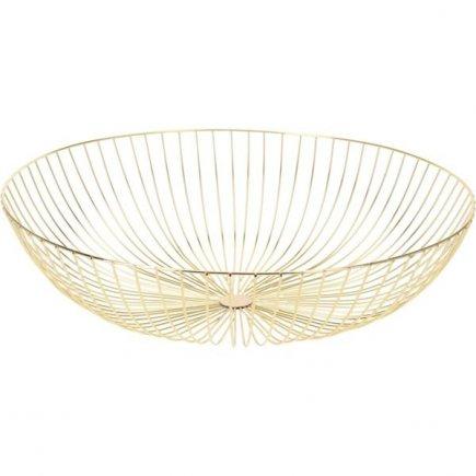 Dekoračný košík kovový 44 cm, zlatý
